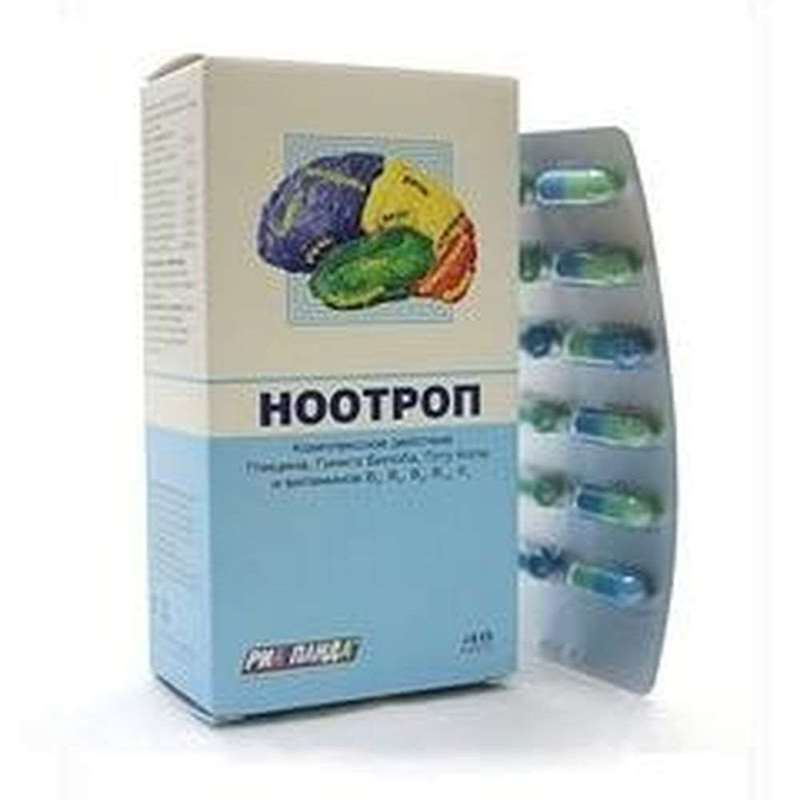 Nootrop 400mg 48 pills improve memory, increase attention, decrease in nervous tension